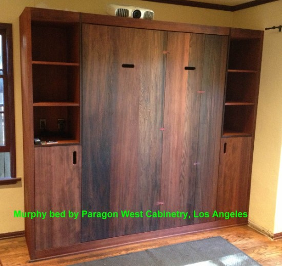 Custom redwood furniture and doors for Murphy garage doors